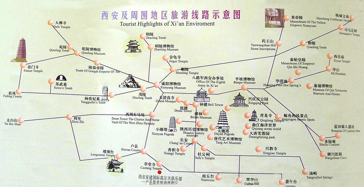 Xian Map Xian Travel Guide to Hotels Tourist Attraction Tour – Xian Tourist Map