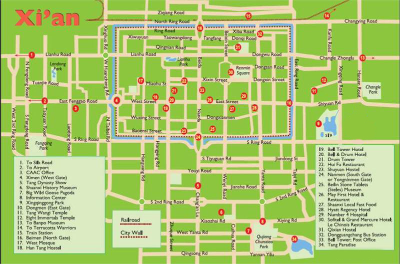 Xian Map Travel Guide To Hotels Tourist Attraction Tour Info On China